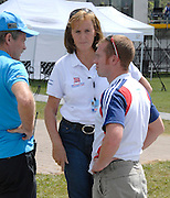 Hamilton, New Zealand, 2010  World Rowing Championships, Lake Karapiro Thursday  04/11/2010  GBR Team Doctor, Ann REDGRAVE [centre], and GBR Physiologist, Mark HOMER [right], in discussion with Volunteer  [Mandatory Credit Karon Phillips/Intersport Images]