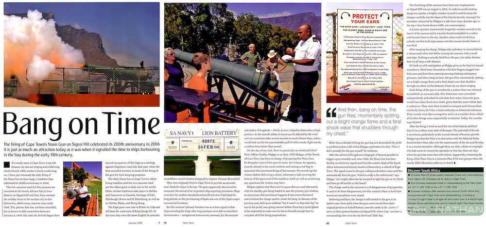 Tears sheet from Open Skies (Emirates Inflight magazine) on Cape Town's noon gun.