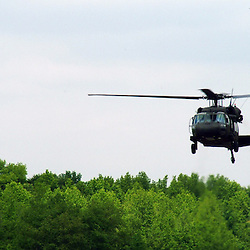 Aerial view of Military helicopter.