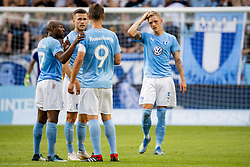 August 1, 2018 - MalmÅ, Sweden - 180801 Fouad Bachirou, Arn—r Ingvi Traustason, Markus Rosenberg and SÅ¡ren Rieks of MalmÅ¡ FF during the UEFA Champions League qualifying match between MalmÅ¡ FF and Cluj on August 1, 2018 in MalmÅ¡..Photo: Ludvig Thunman / BILDBYRN / kod LT / 35511 (Credit Image: © Ludvig Thunman/Bildbyran via ZUMA Press)