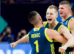 Matic Rebec of Slovenia, Jaka Blazic of Slovenia and Edo Muric of Slovenia celebrate after winning during basketball match between National Teams of Slovenia and Spain at Day 15 in Semifinal of the FIBA EuroBasket 2017 at Sinan Erdem Dome in Istanbul, Turkey on September 14, 2017. Photo by Vid Ponikvar / Sportida