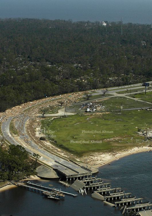 Mississippis Gulf Coast as seen in this aerial was devasted by hurricane Katrina. Past Christian,pictured was one of the hardest hit areas.(photo/Suzi Altman) Hurricane Katrina Mississippi Gulf Coast aerials from first morning after the storm made land fall.Photo©Suzi Altman