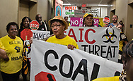 Coalition Against Death Alley protest in the  hallway outside of LABI's office in downtown Baton Rouge, Louisiana, on October 30, the last day of the two week environmental justice protest event.