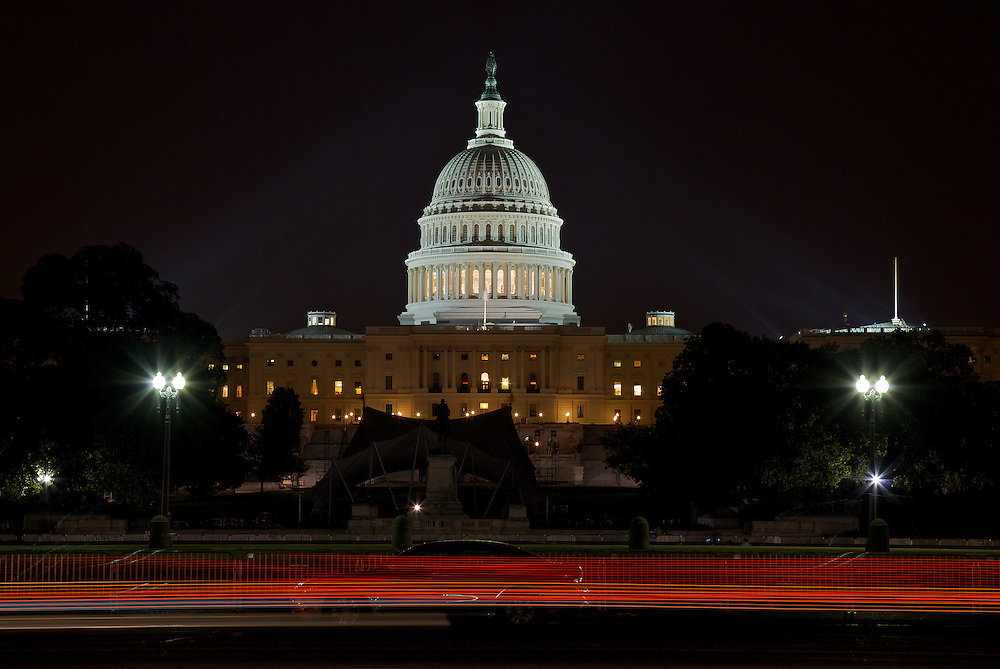 Night view of the US Capitol, among the most architecturally impressive and symbolically important buildings in the world. The Senate and the House of Representatives have met here for more than two centuries. Begun in 1793, the Capitol has been built, burnt, rebuilt, extended, and restored.