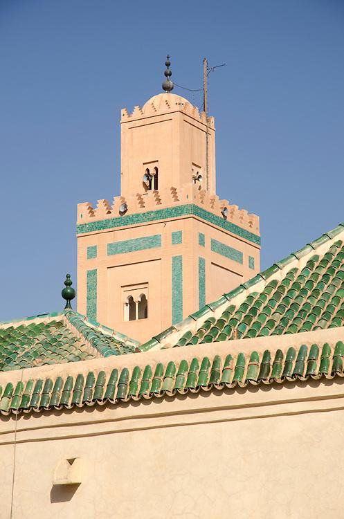 Detail of Ben Youssef Medersa Minaret Marrakech Morocco