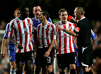 Photo: Tom Dulat/Sportsbeat Images.<br /> <br /> Chelsea v Sunderland. The FA Barclays Premiership. 08/12/2007.<br /> <br /> Liam Miller (12) of Sunderland has been booked with red card by referee Peter Walton.