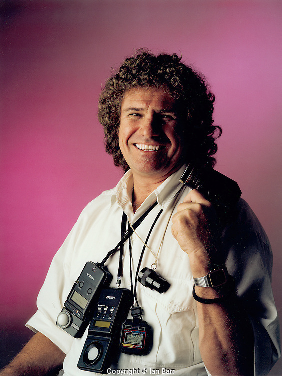 Polaroid portait of George Miller with His array of meters.