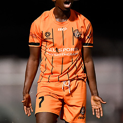 BRISBANE, AUSTRALIA - NOVEMBER 3: Abraham Yango of Eastern Suburbs reacts to refereeing decision during the NPL Queensland Senior Mens Round 9 match between Eastern Suburbs FC and Gold Coast Knights at Heath Park on November 3, 2020 in Brisbane, Australia. (Photo by Patrick Kearney)
