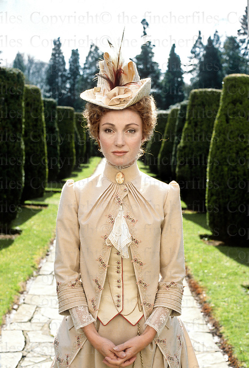 Actress Jane Seymour captured on film location of the movie ëJack the Ripper' in 1988, Filming took place at Stratfield Saye House in Hampshire, England.