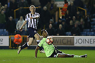 Shane Ferguson of Millwall scores his sides 3rd goal. The Emirates FA Cup 3rd round match, Millwall v AFC Bournemouth at The Den in London on Saturday 7th January 2017.<br /> pic by John Patrick Fletcher, Andrew Orchard sports photography.