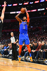 March 9, 2019 - Los Angeles, CA, U.S. - LOS ANGELES, CA - MARCH 08: Oklahoma City Thunder Forward Paul George (13) shoots a three pointer during a NBA game between the Oklahoma City Thunder and the Los Angeles Clippers on March 8, 2019 at STAPLES Center in Los Angeles, CA. (Photo by Brian Rothmuller/Icon Sportswire) (Credit Image: © Brian Rothmuller/Icon SMI via ZUMA Press)