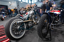 Kustom Garage's 1978 Harley-Davidson Shovelhead in the LowRide Magazine's bike show at Motor Bike Expo (MBE) bike show. Verona, Italy. Saturday, January 18, 2020. Photography ©2020 Michael Lichter.