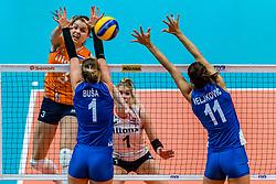 19-10-2018 JPN: Semi Final World Championship Volleyball Women day 18, Yokohama<br /> Serbia - Netherlands / Yvon Belien #3 of Netherlands, Bianka Busa #1 of Serbia, Stefana Veljkovic #11 of Serbia