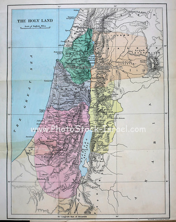 Coloured Map of the Holy Land From the Book 'Bible places' Bible places, or the topography of the Holy Land; a succinct account of all the places, rivers and mountains of the land of Israel, mentioned in the Bible, so far as they have been identified, together with their modern names and historical references. By Tristram, H. B. (Henry Baker), 1822-1906 Published in London in 1897