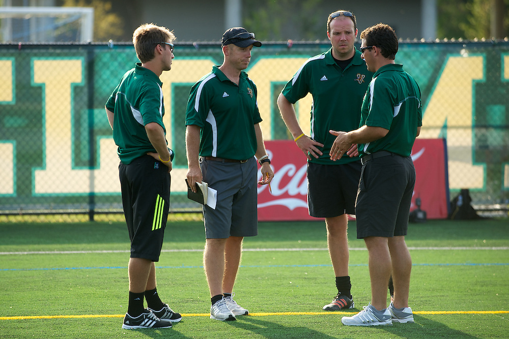 Catamounts head coach Jesse Cormier, Catamounts assistant coach Rob Dow, Catamounts assistant coach Ryan Horan during the men's soccer game between the Central Connecticut State University Blue Devils and the Vermont Catamounts at Virtue Field on Friday afternoon September 7, 2012 in Burlington, Vermont.