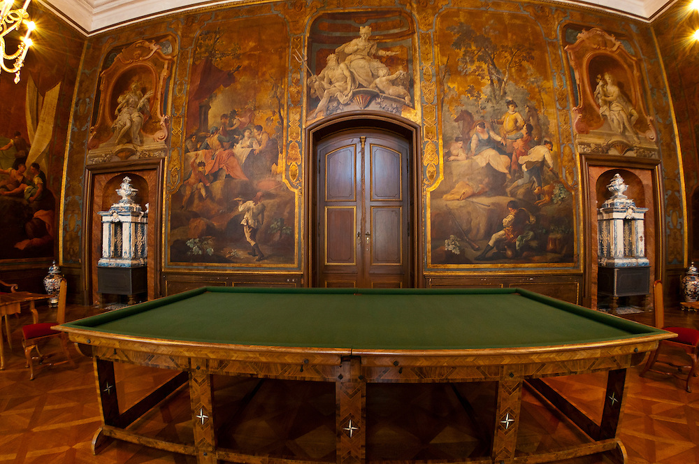 Interior view, Billiard hall, Schloss Moritzburg (castle), Moritzburg, Saxony, Germany