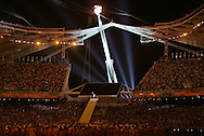 8/13/04 --Al Diaz/Miami Herald/KRT--Athens, Greece--Opening Ceremony in the Olympic Stadium at the Athens Olympic Sports Complex on Friday. The Olympic flame lite near the end of the ceremony.
