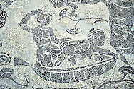 Erotic Roman Mosaic of Pigmies in boats fornicating on the River Nile from Rome, inv 122861,  Secret Museum or Secret Cabinet, Naples National Archaeological Museum , grey background ..<br /> <br /> If you prefer to buy from our ALAMY PHOTO LIBRARY  Collection visit : https://www.alamy.com/portfolio/paul-williams-funkystock/roman-mosaic.html - Type -   Naples    - into the LOWER SEARCH WITHIN GALLERY box. Refine search by adding background colour, place, museum etc<br /> <br /> Visit our ROMAN MOSAIC PHOTO COLLECTIONS for more photos to download  as wall art prints https://funkystock.photoshelter.com/gallery-collection/Roman-Mosaics-Art-Pictures-Images/C0000LcfNel7FpLI