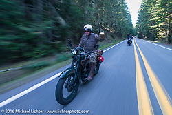 Dean Bordigioni (Dino) riding his 1923 Harley-Davidson JS during Stage 16 (142 miles) of the Motorcycle Cannonball Cross-Country Endurance Run, which on this day ran from Yakima to Tacoma, WA, USA. Sunday, September 21, 2014.  Photography ©2014 Michael Lichter.