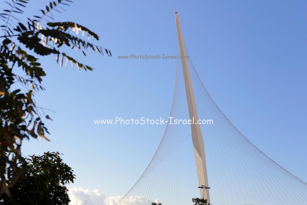 Israel, Jerusalem, Chord Bridge (AKA String Bridge) a Suspension bridge at the entrance to the city designed by Santiago Calatrava