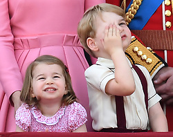 Members of The Royal Family attend Trooping the Colour at Buckingham Palace, London, UK, on the 17th June 2017. 17 Jun 2017 Pictured: Princess Charlotte, Prince George. Photo credit: James Whatling / MEGA TheMegaAgency.com +1 888 505 6342