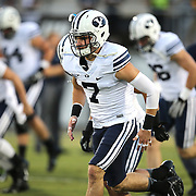 ORLANDO, FL - OCTOBER 09: Quarterback Christian Stewart #7 of the Brigham Young Cougars warms up at Bright House Networks Stadium on October 9, 2014 in Orlando, Florida. (Photo by Alex Menendez/Getty Images) *** Local Caption *** Christian Stewart