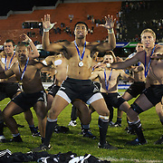 New Zealand players perform the Haka to the crowd after winning the IRB Junior World Championships in Argentina. New Zealand won the final against Australa 62-17 at Estadio El Coloso del Parque, Rosario, Argentina. 21st June 2010. Photo Tim Clayton...