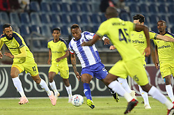 02102018 (Durban) Maritzburg United player zakri Yannick fight for a ball during the game when Maritzburg United takes head on Cape Town City in an Absa Premiership match at theharry Gwala stadium in Pietermaritzburg on Friday night.<br /> Picture: Motshwari Mofokeng/African News Agency (ANA)