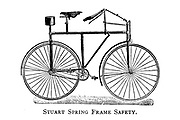 Stuart Spring Frame Safety Bicycle From Wheels and Wheeling; An indispensable handbook for cyclists, with over two hundred illustrations by Porter, Luther Henry. Published in Boston in 1892