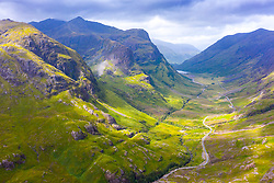 Aerial view of Beinn Fhada nearest part of Bidean Nam Bian also known as the Three Sisters of Glencoe , Highland Region, Scotland, UK