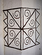 Reconstruction of a geometric wall painting of building 77 of the north area, 7500 BC to 5700 BC, Catalyhoyuk Archaeological Site, Çumra, Konya, Turkey .<br /> <br /> If you prefer to buy from our ALAMY PHOTO LIBRARY  Collection visit : https://www.alamy.com/portfolio/paul-williams-funkystock/catalhoyuk-site-turkey.html<br /> <br /> Visit our TURKEY PHOTO COLLECTIONS for more photos to download or buy as wall art prints https://funkystock.photoshelter.com/gallery-collection/3f-Pictures-of-Turkey-Turkey-Photos-Images-Fotos/C0000U.hJWkZxAbg