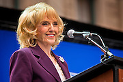 14 FEBRUARY 2012 - PHOENIX, AZ:   Arizona Governor JAN BREWER during centennial festivities at the State Capitol in Phoenix, Feb 14. Arizona's statehood day is February 14 and this year Arizona marked 100 years of statehood. It was the last state in the 48 contiguous United States.  PHOTO BY JACK KURTZ