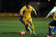 Danny Crow of Newport county in action.FA cup with Budweiser, 1st round replay, Newport county v Braintree Town at Rodney Parade in Newport, South Wales on Tuesday 19th November 2013. pic by Andrew Orchard, Andrew Orchard sports photography,