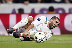 Daniel Carvajal of Real Madrid during the UEFA Champions League quarter final match between Real Madrid and Juventus FC at the Santiago Bernabeu stadium on April 11, 2018 in Madrid, Spain