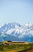 Alaska. Alaska Railroad in the Chugach Mountains near Portage.