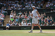 13 July 2018.  The Wimbledon Tennis Championships 2018 held at The All England Lawn Tennis and Croquet Club, London, England, UK.  <br /> <br /> Kevin Anderson RSA) [8] vs John Isner (USA) [9] on Centre Court.  Pictured:- Kevin Anderson.