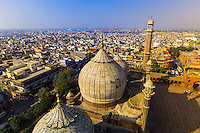 Overview of the Domes and minarets of the prayer hall of the Jama Masjid Mosque, Delhi, India