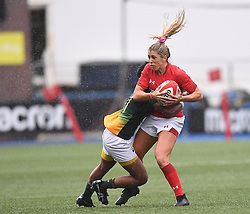 Wales Alecs Donovan tackled by South Africa Snenhlanhla Shozi<br /> Wales Women v South Africa Women<br /> Autumn International<br /> <br /> Photographer Mike Jones / Replay Images<br /> Cardiff Arms Park<br /> 10th November 2018<br /> <br /> World Copyright © 2018 Replay Images. All rights reserved. info@replayimages.co.uk - http://replayimages.co.uk