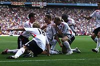 Photo: Mark Stephenson. <br /> Aston Villa v Liverpool. Barclays Premiership. 11/08/2007. <br /> Steven Gerrard (C) celebrates his goal with team mates