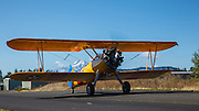 A 1943 PT17 Kaydet taxis into the 2013 Hood River Fly In at WAAAM.