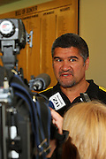 Hurricanes coach Colin Cooper is interviewed by the media.<br /> Super 14 - Hurricanes 2009 squad announcement, Westpac Stadium, Wellington. Friday, 31 October 2008. Photo: Dave Lintott/PHOTOSPORT