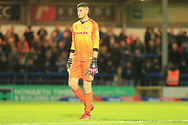 RED CARD Magnus Norman leaves the pitch during the EFL Sky Bet League 1 match between Rochdale and Bristol Rovers at Spotland, Rochdale, England on 2 October 2018.