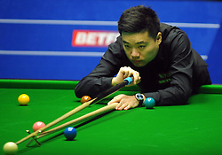 Ding Junhui during his match against Liang Wenbo on day eight of the Betfred Snooker World Championships at the Crucible Theatre, Sheffield.