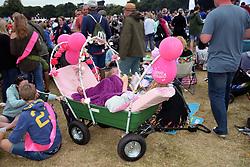 Latitude Festival 2017, Henham Park, Suffolk, UK. Small child in cart