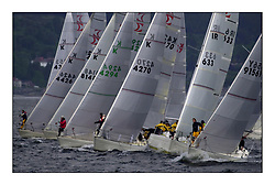 Yachting- The second start of the Bell Lawrie Scottish 2002 series at Inverkip racing to Tarbert Loch Fyne where racing continues over the weekend.<br /><br />Sigma 33 start line.<br /><br />Pics Marc Turner / PFM