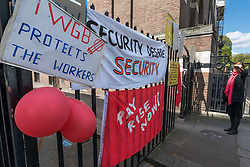 April 25, 2017 - London, UK - London, UK. 25th April 2017. Security officers at the University of London picket outside Senate House on the first day of their 2-day strike. Their employer Cordant has failed to honour an agreement with the university to increase their pay in line with other university employees, and they have fallen behind by around 25%. A letter to the managers and a meeting with them was met by the cancellation of all holidays, even those already agreed for the next 2 months. The officers in the IWGB union voted 100% for strike action calling for no zero-hours contracts, proper payslips for all and for the .University of London to honour its promises on pay. Peter Marshall Images Live (Credit Image: © Peter Marshall/ImagesLive via ZUMA Wire)