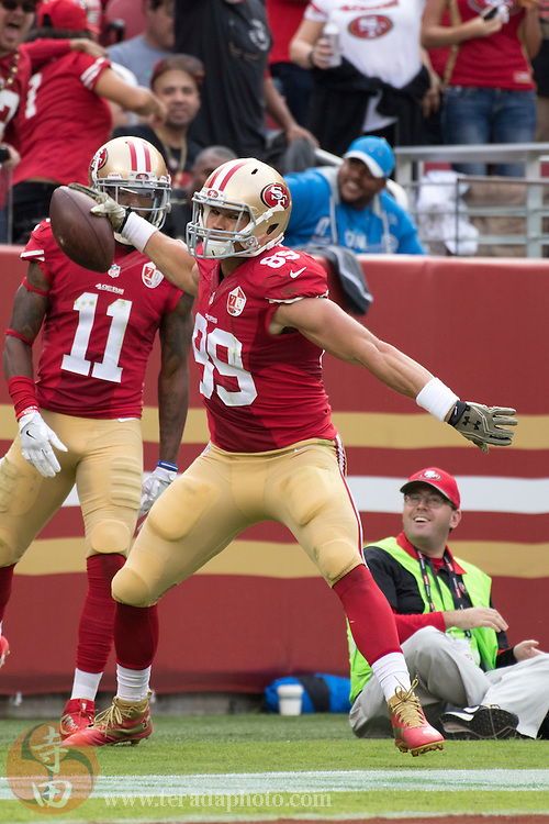 November 6, 2016; Santa Clara, CA, USA; San Francisco 49ers tight end Vance McDonald (89) celebrates after scoring a touchdown during the second quarter against the New Orleans Saints at Levi's Stadium. The Saints defeated the 49ers 41-23.