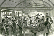 Poverty-stricken inhabitants of the east end of London queueing for bread and soup at the Limehouse Special Relief Committee's soup kitchen. From 'The Illustrated London News', London, 7 March 1868.