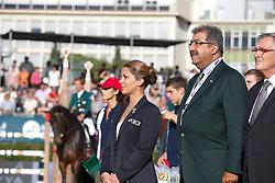 HRH Princess Haya (JOR) with HRH Prince Faisal bin Abdullah bin Mohammed Al Saud <br /> Furusiyya FEI Nations Cup Jumping Final <br /> CSIO Barcelona 2013<br /> © Dirk Caremans
