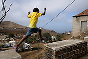 A child plays in Nova Sintra, the capital village of Brava island the most inacessible of the nine inhabited islands of Cape Verde archipelago.